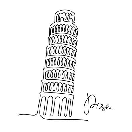 Pisa one line vector illustration