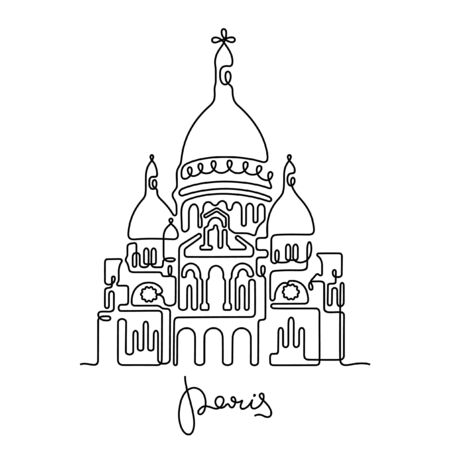Paris, The Basilica of the Sacred Heart one line vector illustration Illustration