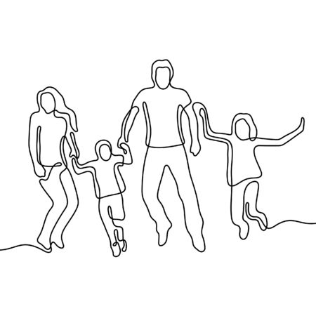 Happy family jumping holding hands one line vector illustration
