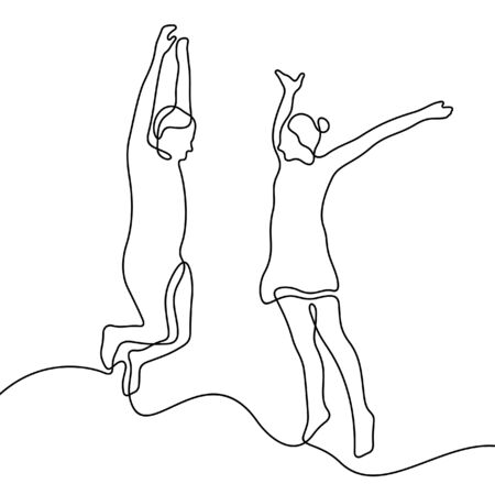 Happy couple jumping hands up one line vector illustration Stock Illustratie