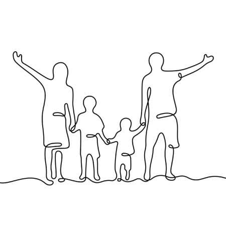 Happy family holding hands one line vector illustration Фото со стока - 137849425
