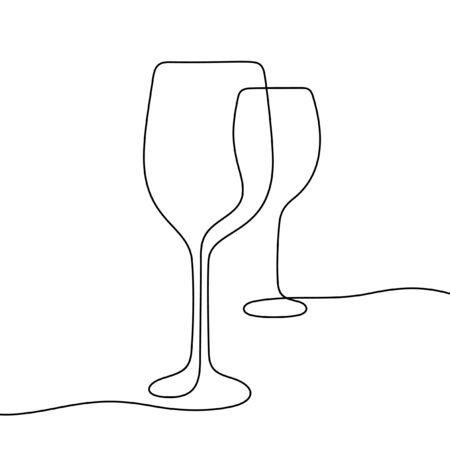 Wine glasses one line vector illustration