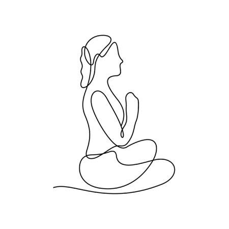 Woman doing yoga one line vector illustration