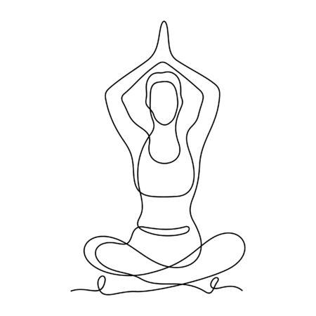 Yoga position one line vector illustration