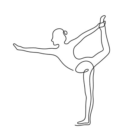 Woman doing yoga exercise one line vector illustration