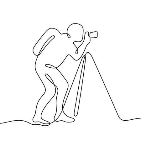 Photographer one line vector illustration