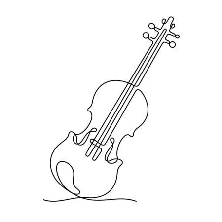 Violin one line vector illustration