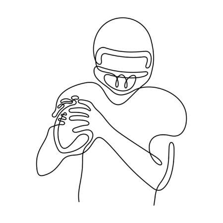American football player one line vector illustration  イラスト・ベクター素材