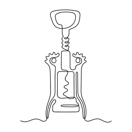 Corkscrew one line vector illustration Banque d'images - 137769411