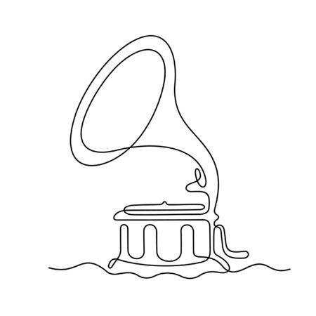 Grammophon einzeilige Vektorillustration