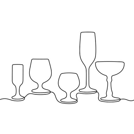 Glasses one line vector illustration
