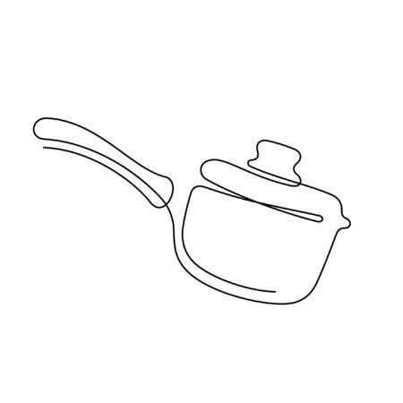 Pan one line vector illustration Ilustração