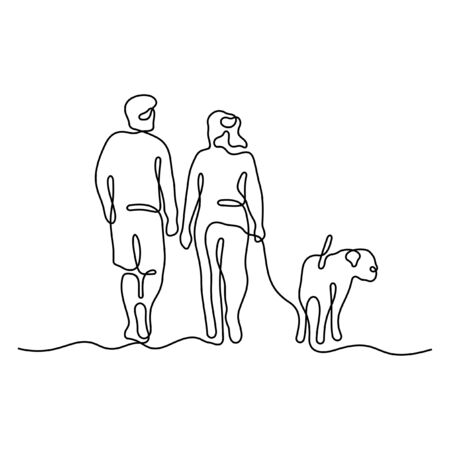 Couple walking with a dog one line vector illustration
