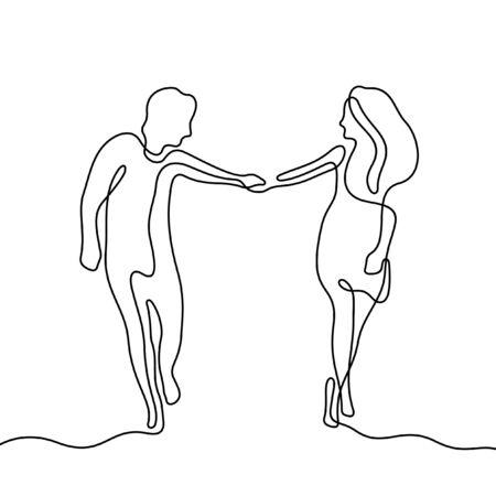 Couple walking holding hands one line vector illustration Stock Illustratie