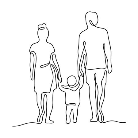 Family walking together holding hands. One line vector illustration Иллюстрация