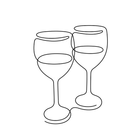 Wine one line vector illustration