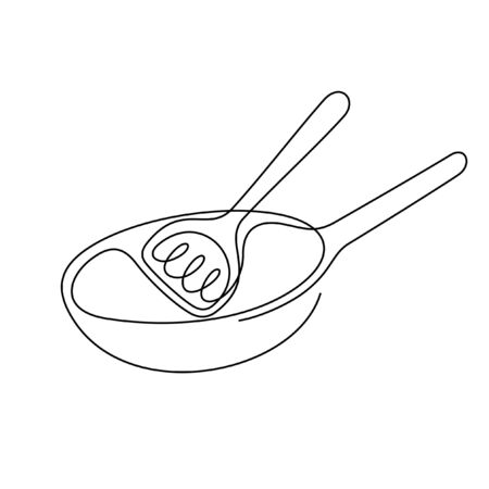 Frying pan one line vector illustration