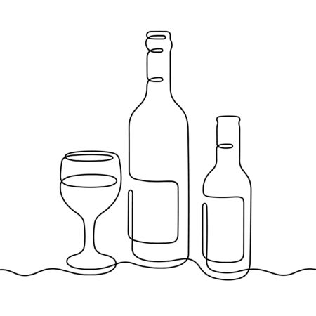 Wine bottles and glass one line vector illustration