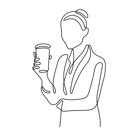 Business woman having a coffee break one line vector sketch