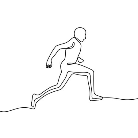 Runner one line vector illustration