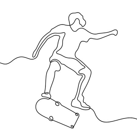 Young skater one line vector sketch Vettoriali