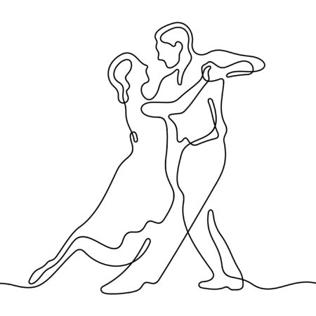 Dancing couple one line vector illustration