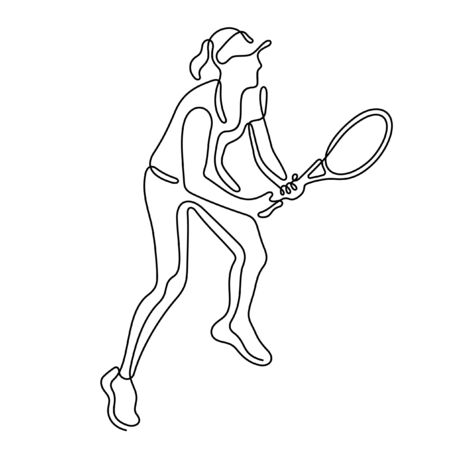 Female tennis player one line vector illustration Vettoriali