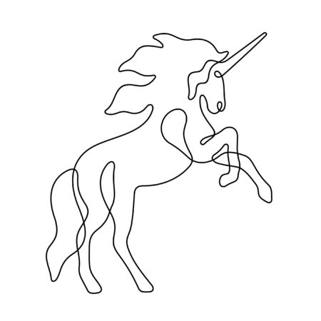 Unicorn one line vector illustration Vettoriali