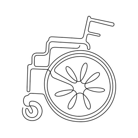 Wheelchair one line vector illustration