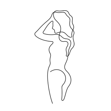 Beautiful woman posing nude one line vector illustration