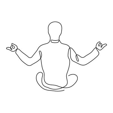 Man sitting in yoga lotus position and meditating one line vector illustration
