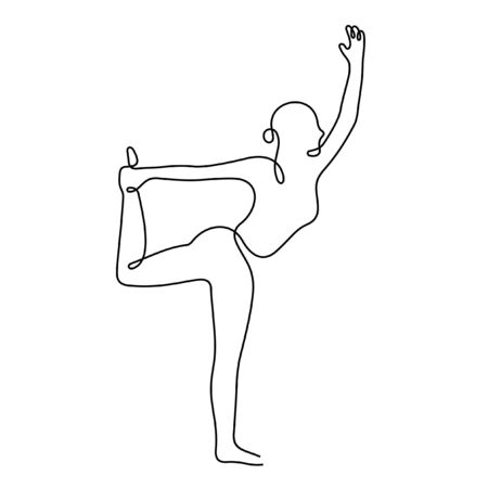Woman doing exercise one line vector illustration