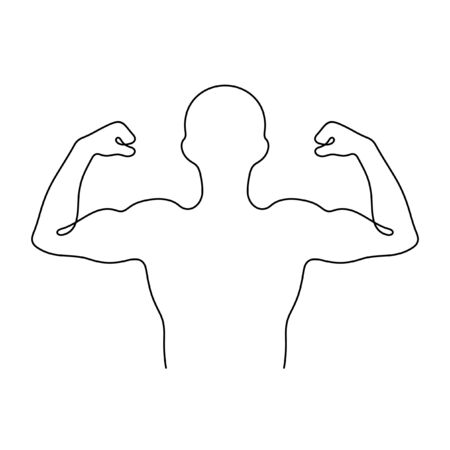 Man showing his pumped up muscles one line vector illustration