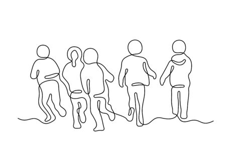 Running children one line vector illustration