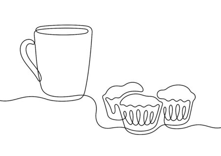 Coffee with muffins one line vector illustration