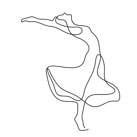 Beautiful dancing woman one line vector illustration Vettoriali