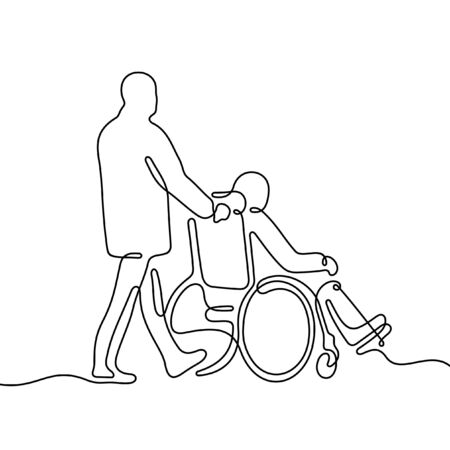 Man pushing wheelchair with disabled person. One line vector illustration Vettoriali