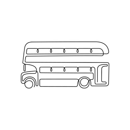 Double decker bus one line vector illustration Vettoriali