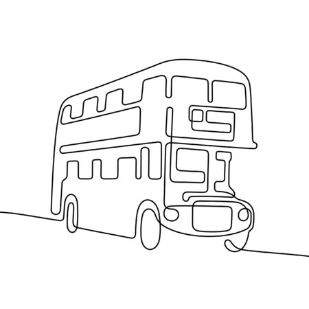 London double decker bus one line vector illustration Vettoriali