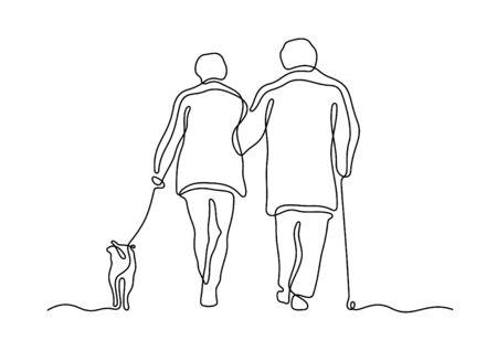Elderly couple walking with dog one line vector illustration Illustration