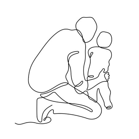 Father with his little son one line vector illustration Vettoriali