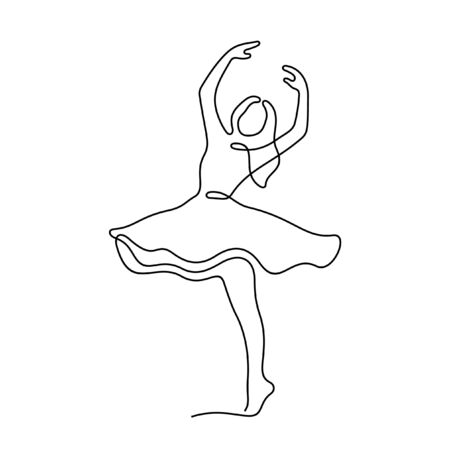 Beautiful dancing woman one line vector sketch Vettoriali