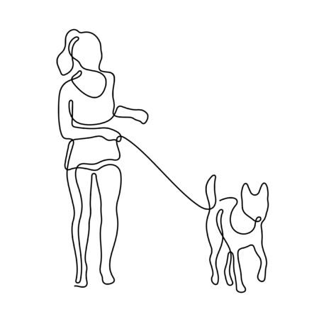 Girl walking with a dog one line vector illustration