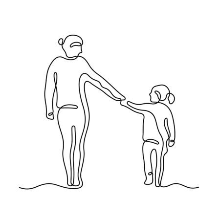 Mom and daughter holding hands one line vector sketch
