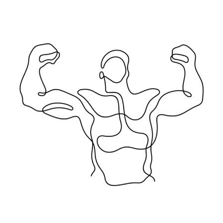 Strong muscle man one line vector illustration