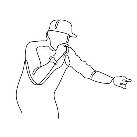 Hip Hop singer one line vector illustration Vettoriali