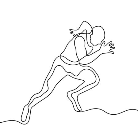 Running athlete one line vector illustration Vettoriali