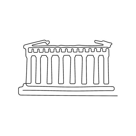 Parthenon, Greece. One line vector illustration Vettoriali