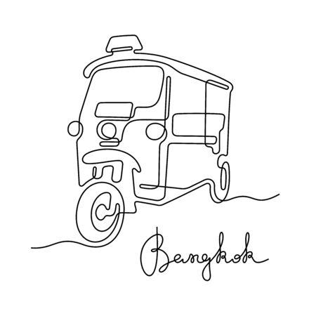 Tuk Tuk, Bangkok. One line vector illustration. Banque d'images - 137796184