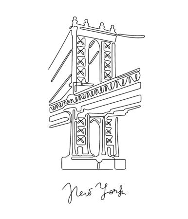 New York, Manhattan bridge. One line vector illustration. Vettoriali